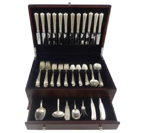 American Directoire by Lunt Sterling Silver Flatware Set 12 Service 77 pcs Deco