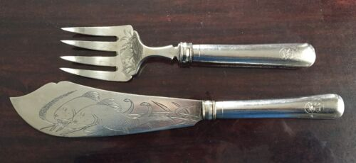 Antiques Chinese Sterling Silver Fish Servers