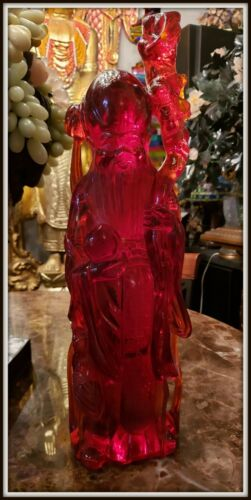 """Colossal! """"Rare Hand Carved Chinese Cherry Amber Resin Wiseman""""(21.75""""H x 6.5""""W)"""