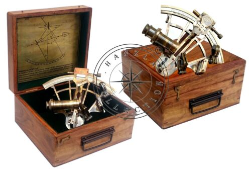 """Nautical Sextant Antique Brass Henry Barrow London 8"""" Ship Astrolabe With Box"""