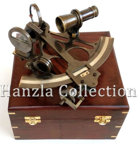 """Nautical Sextant Antique Brass 9""""Working Instrument Navy Ship Astrolabe With Box"""