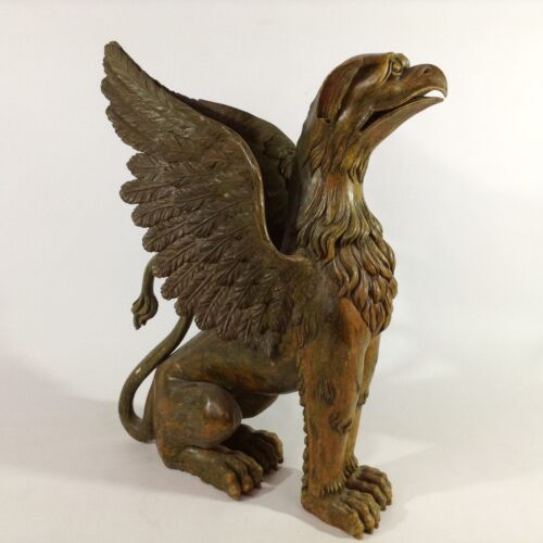 Classicismo Biedermeier Empire Chimera 70 cm Rapace Lion Mobile Scultura