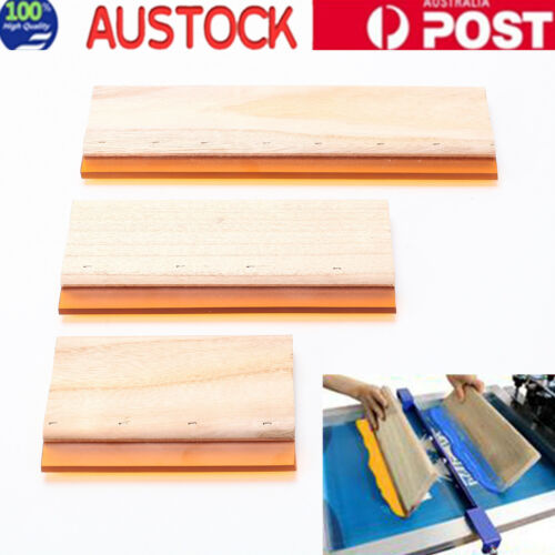 3pcs Silk Screen Printing Squeegee Blade Wooden Ink Scraper Scratch Board Tools