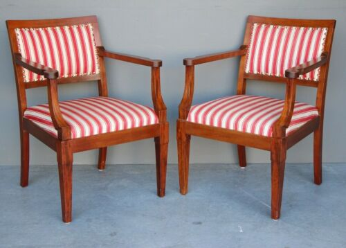 Pair Danish Art Deco Empire armchairs solid mahogany Danish 1930's Biedermeier