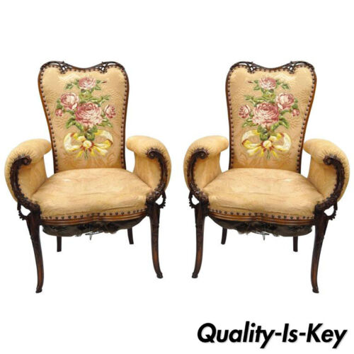 Pair of Carved Mahogany French Hollywood Regency Fireside Chairs Grosfeld House