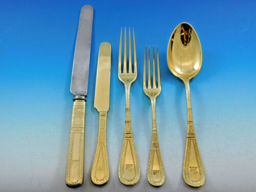 King William Engraved Vermeil by Tiffany Sterling Silver Flatware Set 8 Dinner