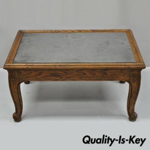 Henredon Town & Country French Style Carved Oak Wood Slate Top Low Accent Table