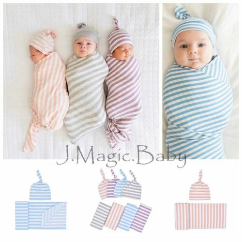 Newborn Baby Stripe Swaddle Sleeping Blanket Wrap Hat Beanie Set Photoprop