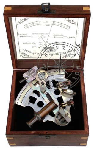 Nautical Antique Brass Sextant Vintage Maritime Navy Ship Instrument in Wood Box