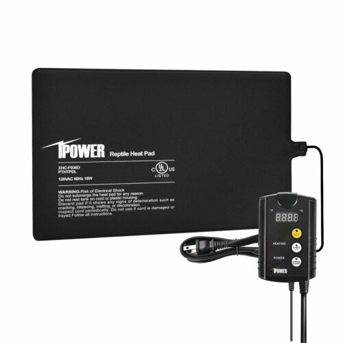 """iPower 8""""x18"""" Under Tank Heat pad and Digital Thermostat Combo Set for Reptiles"""