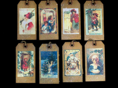 VICTORIAN CHRISTMAS HANG TAGS - EIGHT DESIGNS