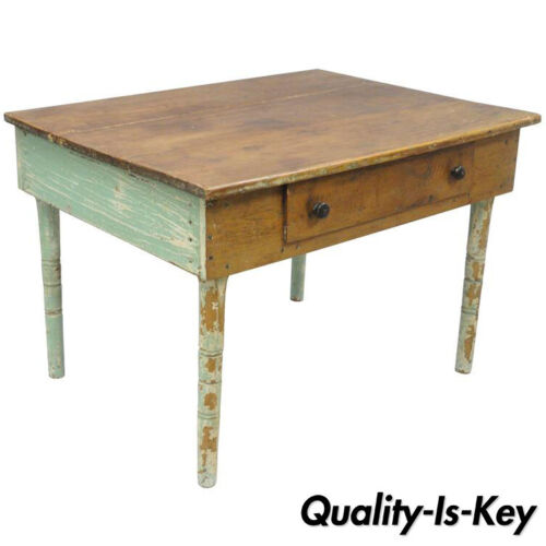 American Primitive Blue Green Distress Painted Rustic Barn Wood Farm Work Table