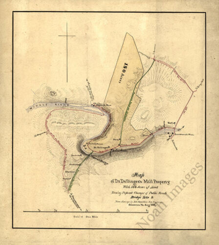 Map of Dr Dellingers mill property Virginia c1867 16x18
