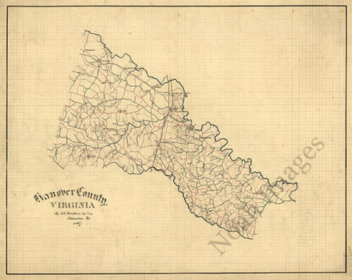 Map of Hanover County Virginia c1867 20x16