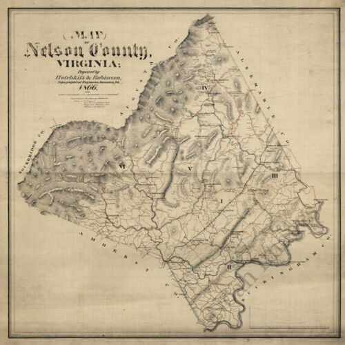 Map of Nelson County Virginia c1866 24x24