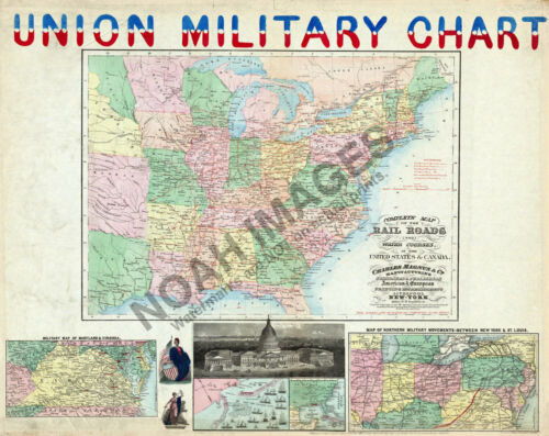 Map of Union Military Chart c1861 30x24