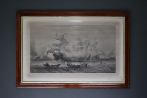 Big naval engraving Attack of the Vanguard dated 1885 by Willmore original print