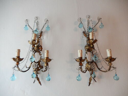 ~c 1920 French Bronze Aqua Murano Balls  Crystal Prisms Blue Sconces~