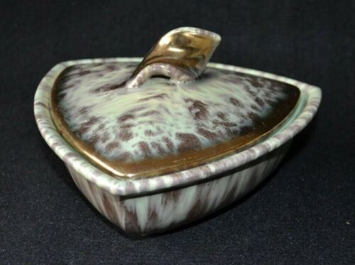Vintage Mid-Century Candy Dish Drip Glaze Green and Gold Trimmed Germany