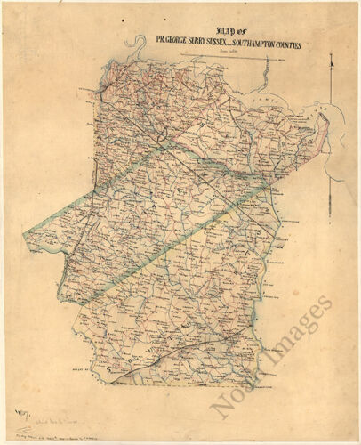 Map of Prince George Surry Sussex and Southampton counties Virginia c185
