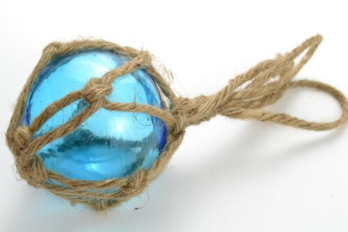 """REPRODUCTION BLUE GLASS FLOAT BALL WITH FISHING NET BUOY 3"""" #F-455"""