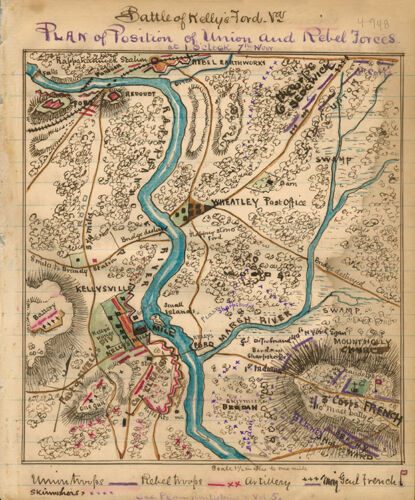 Battle of Kelly's Ford Virginia c1863 map 12x14