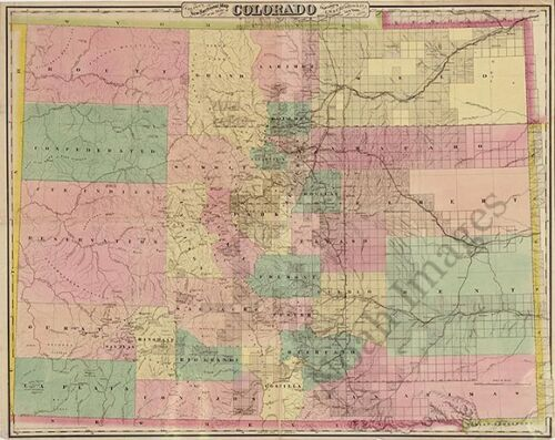 Map of State of Colorado c1878 30x24