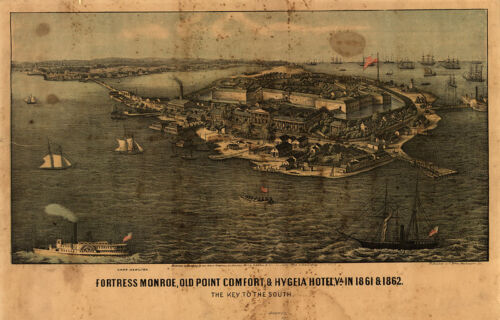 View of Fortress Monroe Virginia c1861 map 18x12