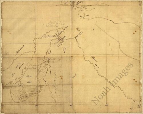 Bend of the Missouri River c1798 map 20x16
