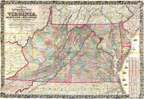Topographical map of the states of VA MD and DE c1862 34x24