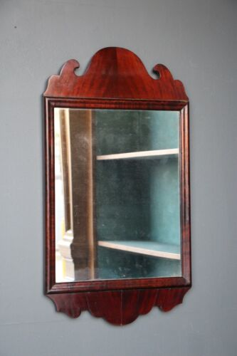 Antique English 19th century Georgian Chippendale mirror mahogany cushion shaped