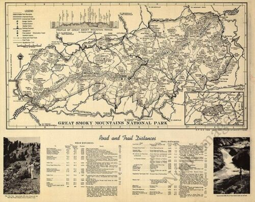 Great Smoky Mountains National Park c1940 map 20x16