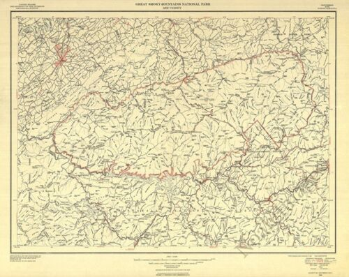 Great Smoky Mountains National Park and vicinity c1953 map 20x24