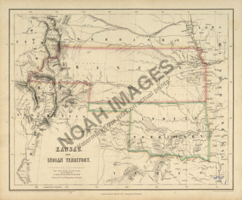 Map of Territory of Kansas and Indian Territory c1857 24x20