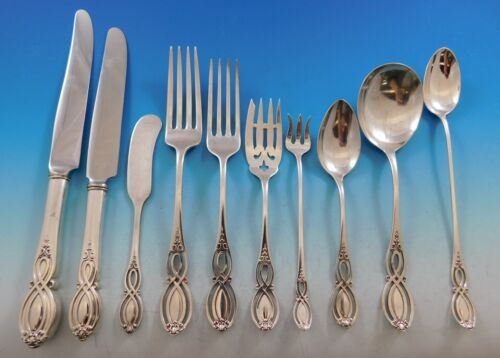 Chippendale Old by Alvin Sterling Silver Flatware Set for 12 Service 206 pieces