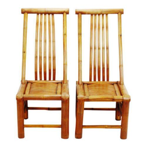 Pair of Vintage Handmade High Back Authentic Bamboo Accent Chairs