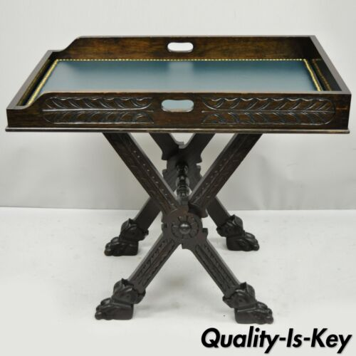 Antique Italian Renaissance Carved Walnut Tray Table Bar Folding Lion Paw Feet