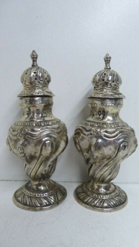 PAIR STERLING SILVER PEPPERETTES SALT PEPPER SHAKERS - HALLMARKS TB WB HH