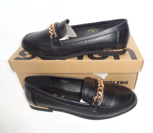 New Ladies Tan Wide Fit Leather Shoes Flats Slip On Loafers RRP £35 UK Sizes 3-8