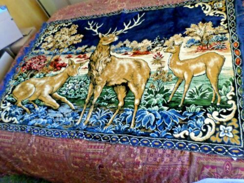 Beautiful Vintage Italian Made Deer Family In The Forest Colorful Tapestry