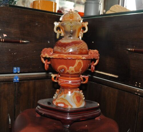 China Noble Dynasty Natural Agate Onyx carved statue Tower Incense Burner censer