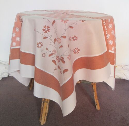 TABLECLOTH Square 1970s Vintage Barkcloth COTTON Brown White Retro Tea Supper