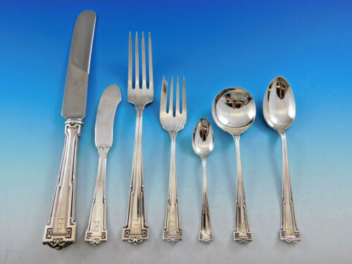 Dauphine by Wallace Sterling Silver Flatware Set 12 Service 101 pc Dinner A mono