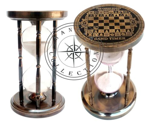 """6"""" Antique Brass Chess Top Sand Timer Nautical Maritime Hourglass Vintage Clock"""