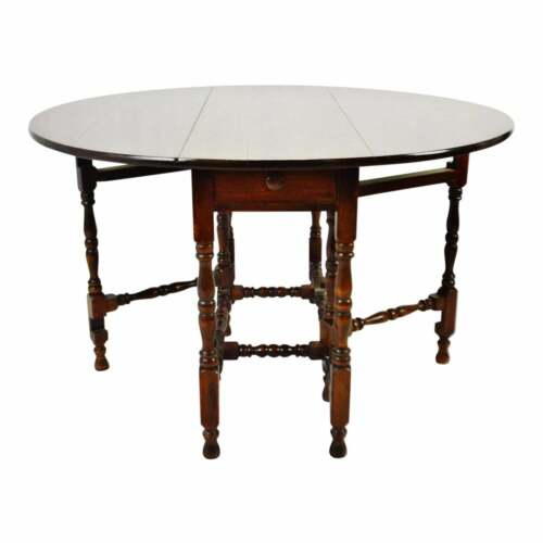 Antique William and Mary Style Drop Leaf Gateleg Table with Drawer