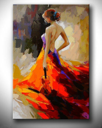 LMOP908 modern abstract hold Violin girl figures hand art oil painting on canvas