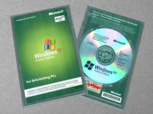 NEW Microsoft Windows XP Home Edition SP3 w RFB Disc, COA and CD Product Key