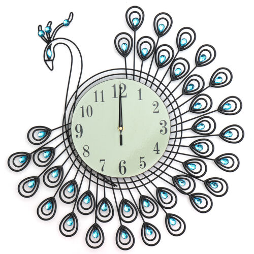 54 cm Peacock, Large Glow in Dark Feature, Jade Sand Glass, Wall Clock, Battery
