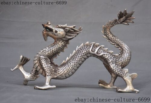 """10""""old Chinese silver 12 Zodiac animal Feng shui auspicious wealth Dragon statue"""