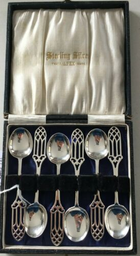 Vintage Apex Set of  6 Sterling Silver Boxed Coffee Spoons
